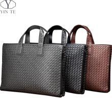 YINTE Casual Handbags Genuine Leather Unisex Briefcase Fashion Messenger Shoulder Bag Woven Totes Leisure Bag Portfolio T4163-1