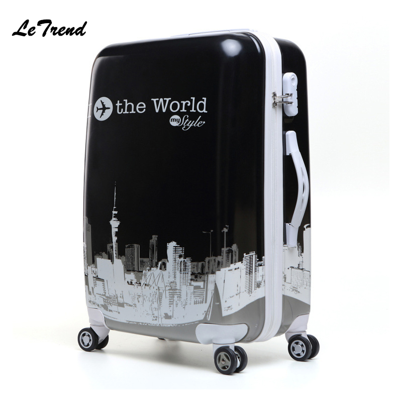Letrend Tower style Student Rolling Luggage Spinner Women Trolley Suitcase Wheels 20 inch Carry On Travel Bag Hardside Trunk vintage suitcase 20 26 pu leather travel suitcase scratch resistant rolling luggage bags suitcase with tsa lock