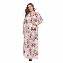 Vintage Floral Pink Big Flower Maxi Dress for Women Print Vestidos Plus Size Beach Sundress O Neck Summer Oversized Female Dress oversized abstract print maxi dress