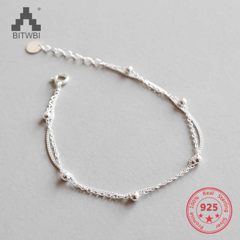 100% 925 Sterling Silver Fashion Women's Jewelry Double Layer Beads Bracelet For Gift Girls Lady
