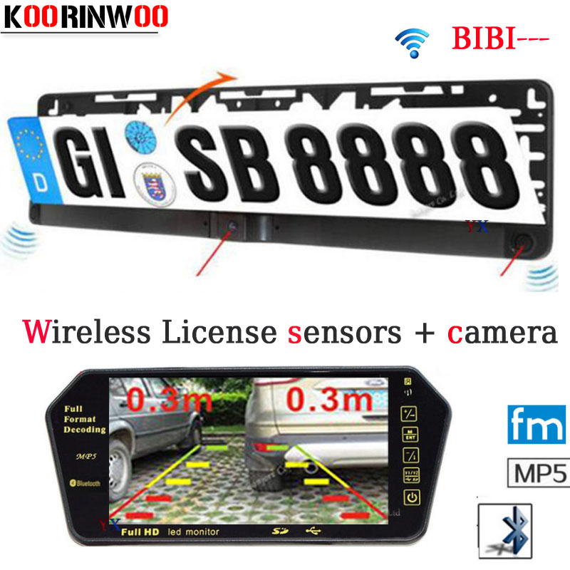 Wireless Latest Car Parking Sensor + HD 7 inch Rear view Monitor Bluetooth Mp5 FM CCD License Plate Frame camera  Parktronic