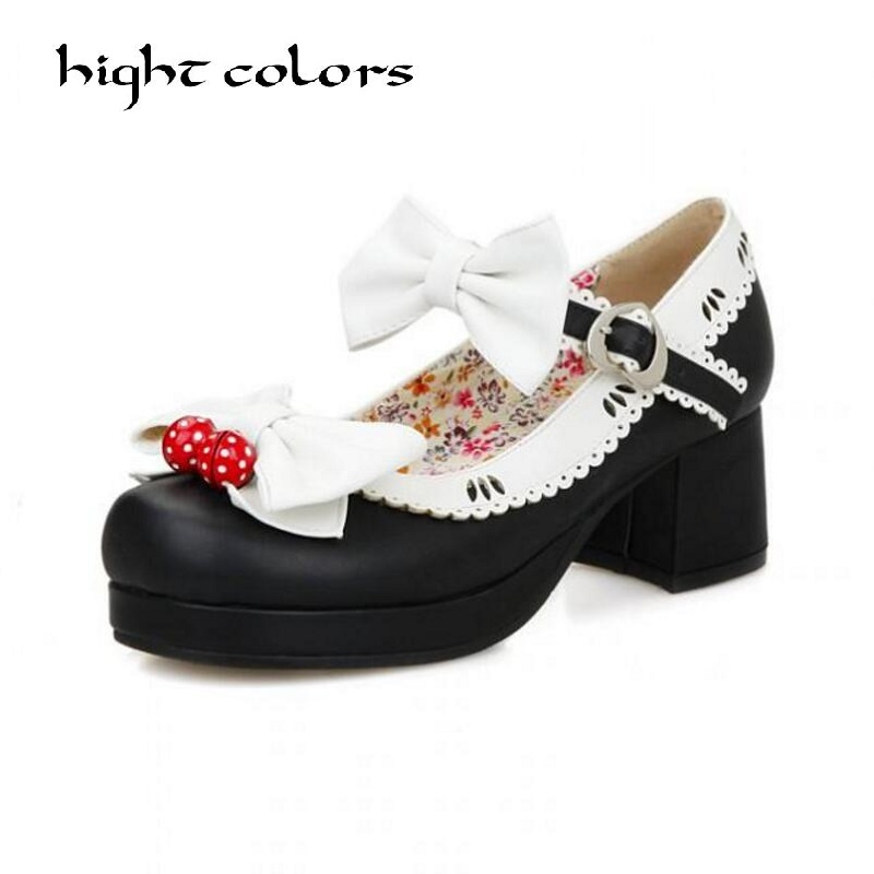 New Ladies Sweet Black Candy Color Womens Mary Janes Pumps Low Heel Lolita Bowknot Shoes For Women Princess Shoes 34~43 loslandifen mary janes women pumps new