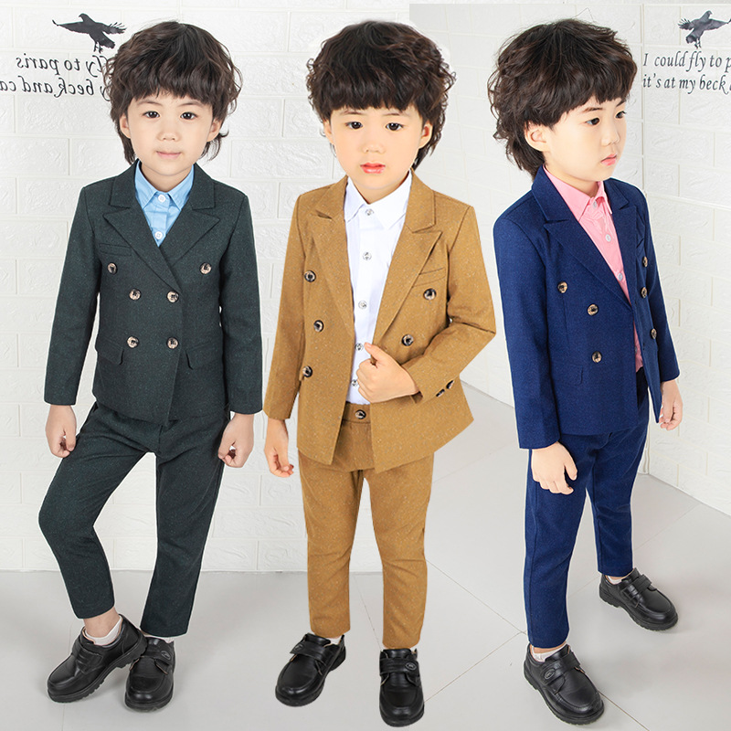24dda9a160e1 ActhInK New Boys Double Breasted Blazer Suit England Style Boys ...
