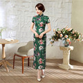 Hot Sale Green Summer Lady Vintage Long Dress Chinese Style Women Satin Qipao Sexy Cheongsam Flowers S M L XL XXL XXXL C0053-B