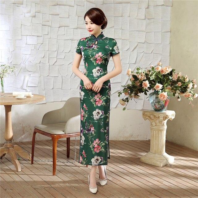 Vendita calda Verde Estate Lady Vintage Vestito Lungo Delle Donne di Stile  Cinese raso Qipao Sexy 1844220fcae