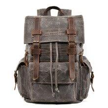 цена Men Large Capacity Retro Travel Backpack High Quality Waterproof Wax Canvas School Laptop Bags Vintage Teenager Backpack Bookbag онлайн в 2017 году