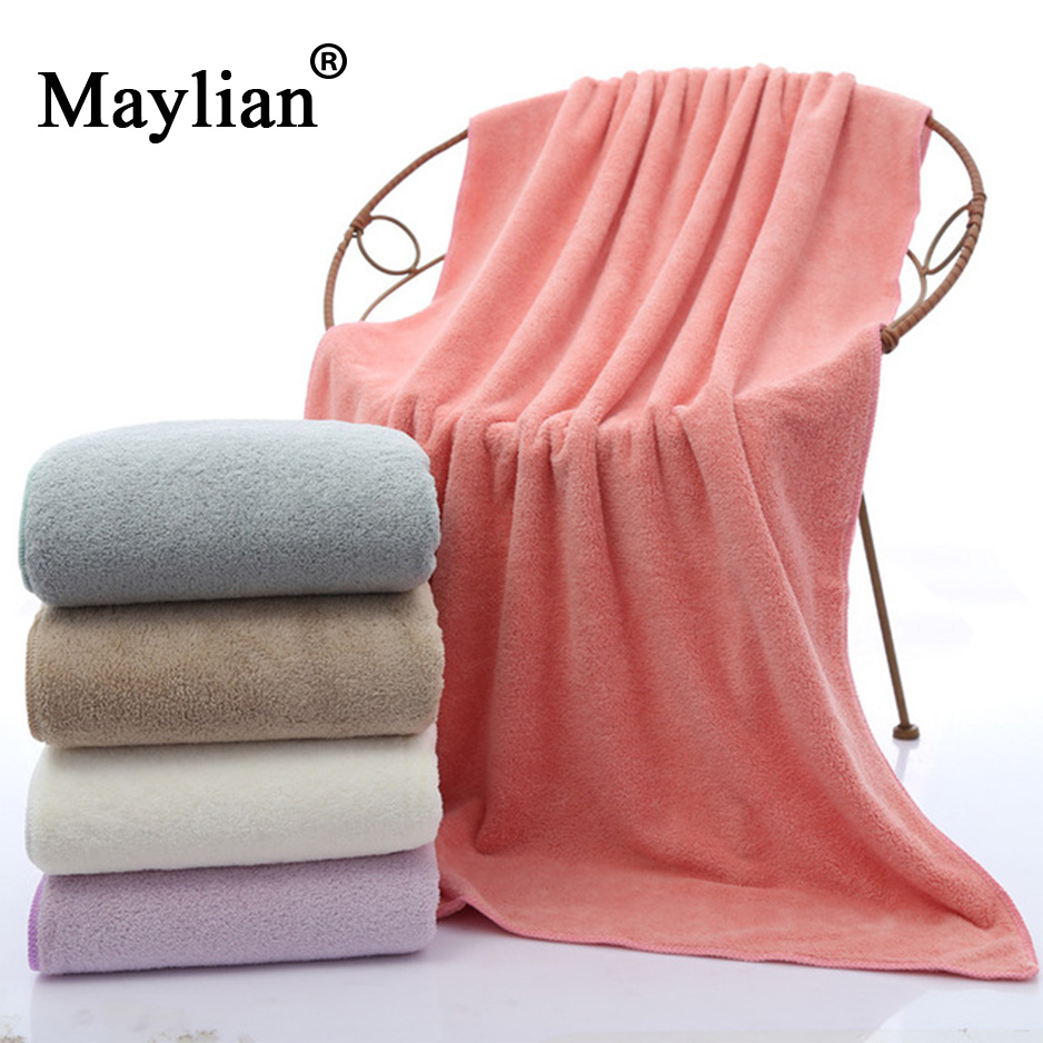 High Quality Solid Soft Microfiber Fabric Coral Velvet Bath Towel 70*140cm Beach Shower Big Thickened Absorbent Towel Gift T141