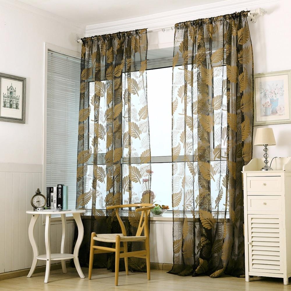 Banana Leaves Window Kitchen Bathroom Curtain Door Divider