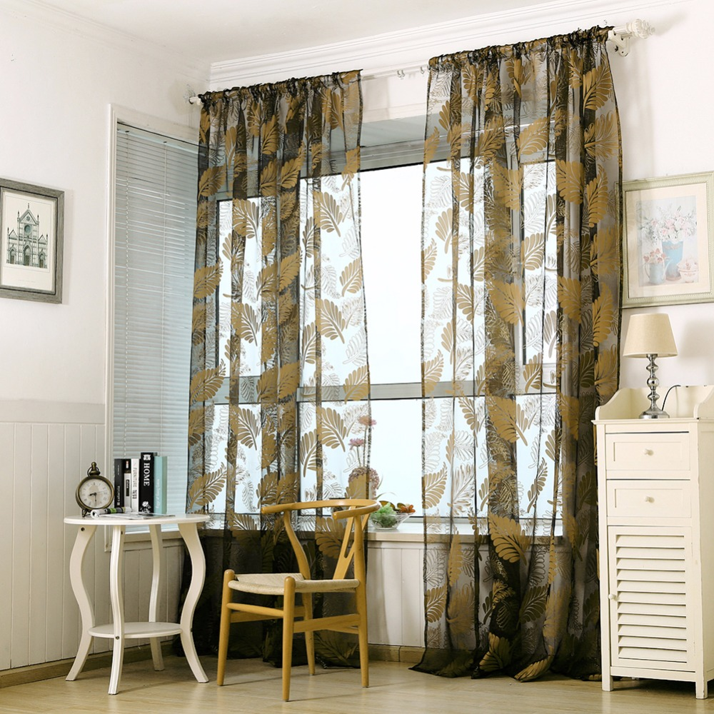 Ho how to tie balloon curtains - Banana Leaves Window Kitchen Bathroom Curtain Door Divider Sheer Panel Drapes Scarf Curtain 236281