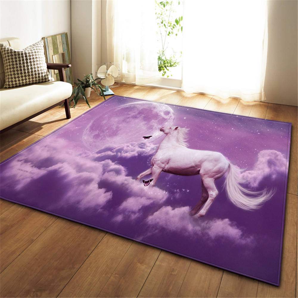 3D Dream Universe Horse Rug Living Room Carpet Girls Room Decoration Mat Baby Crawling Area Rugs Anti-slip Soft Bedroom Carpets