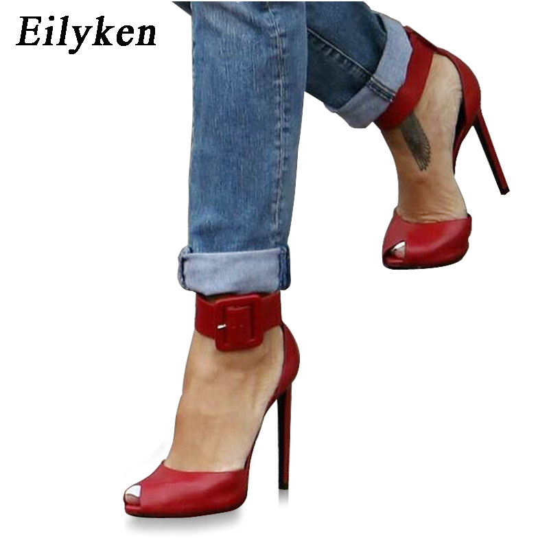 Eilyken Women High Heels Design Buckle Strap Pumps Sexy Lady Peep Toe Sandals Strap Buckle Party Wedding Shoes stylish women s sandals with t strap and peep toe design