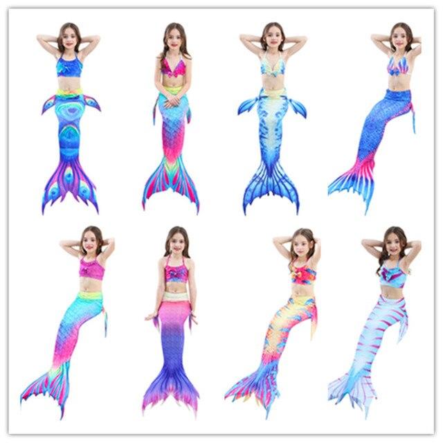 Newest Girls Mermaid Tail For Swimming Kids Mermaid Cosplay Costume 3 piece Bikinis Set Princess Dress Bikini Fishtail Swimwear