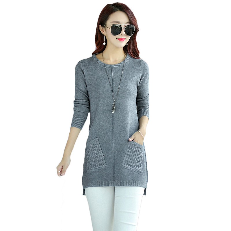 2018 Spring Autumn New Pullover Sweater Plus Size Solid Color Knitted Bottoming Shirt Women Casual Loose Large Size Dress A322 inc new solid white women s size 0 knitted capris cropped pants $59 056