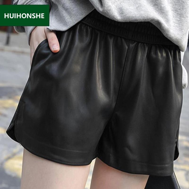 New Summer Women Elastic Waist PU leather Black Shorts Female Celebrity same Loose Fashion Women Casual Shorts