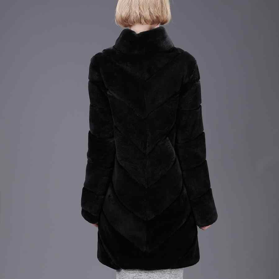 2018 senhoras new real tomada de pele de coelho naturais casaco de pele de coelho longo casaco de outono e inverno moda quente de rua Europeu estilo