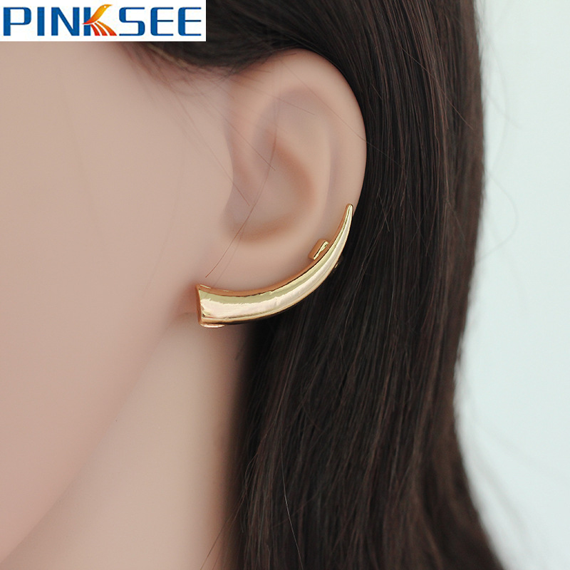 1pc Punk Silver Gold Curved Horns Design Ear Cuffs For Women Cartilage Earrings Fashion Ox Shape Clip Jewelry Gifts In From