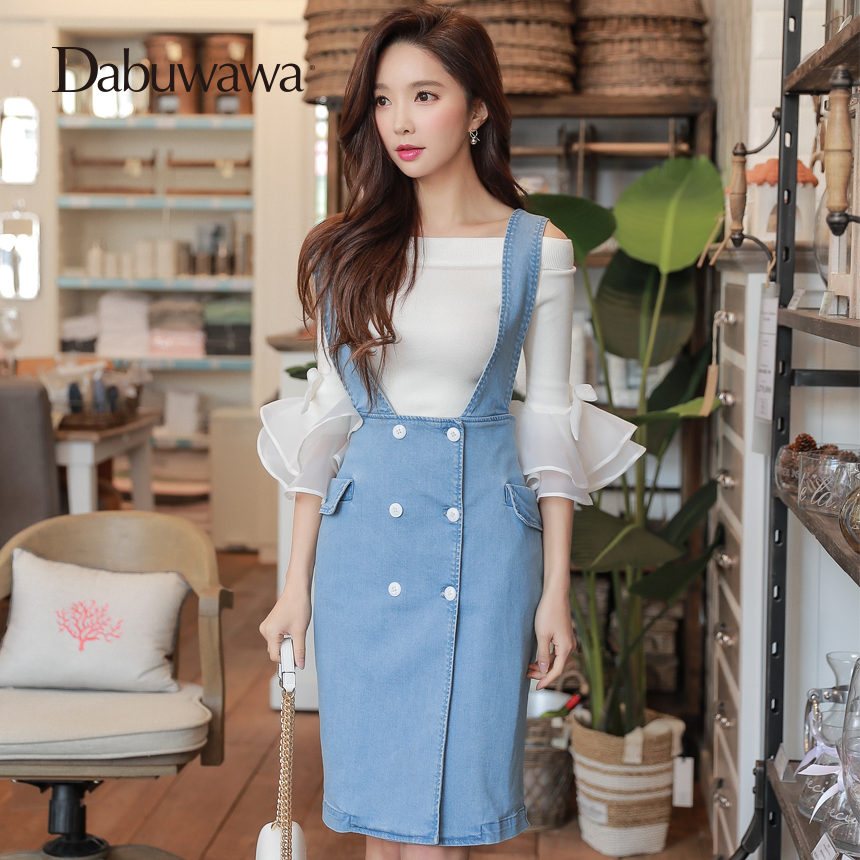 Dabuwawa Spring Blue Denim Skirts Overalls Fashion Elegant Suspender Skirt High Waist Pencil Skirt for Girls