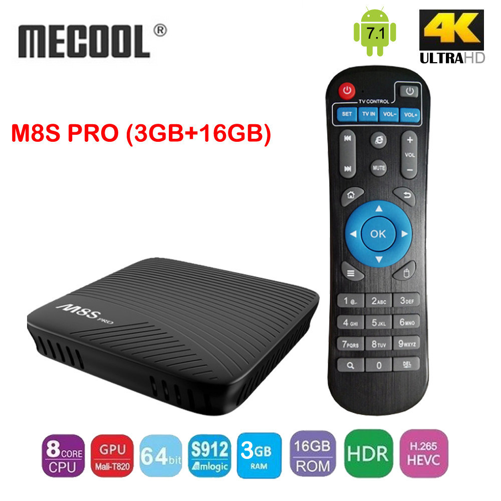 MECOOL M8S PRO Android 7.1 Smart TV Box 3GB/16GB  Amlogic S912 64 bit Octa core ARM Mali-T820MP3 GPU 2.4G/5G  WiFi  Set Top Box