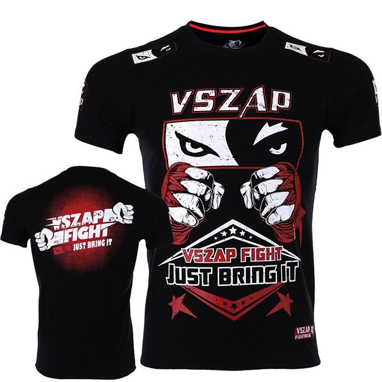 VSZAP Fist Fight Fighting Sports MMA Sports T-shirt Wulin Feng Tai Boxing  Broadcast Short Sleeve Men Martial Arts