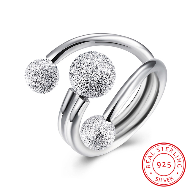 3 Piece High Polished Matting 925 Sterling Silver Rings For Women Engagement Wedding Ring Fashion