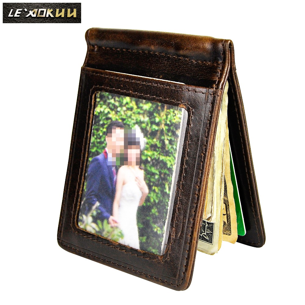 Genuine Leather Men Magnetic Money Clip Wallet Business Card Photo Holder Case Design Front Pocket Wallet Mini Purse Male 1099-c