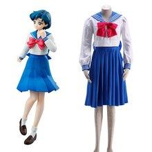 Envío libre Sailor Moon cristal mercurio Mizuno Ami manga larga verano  marinero uniforme Anime Cosplay traje 21d24177ebe7