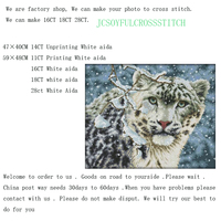 16CT 18 28 11 14CT Free Ship Snow Leopard Counted Cross Stitch Animals Cross Stitch Kit