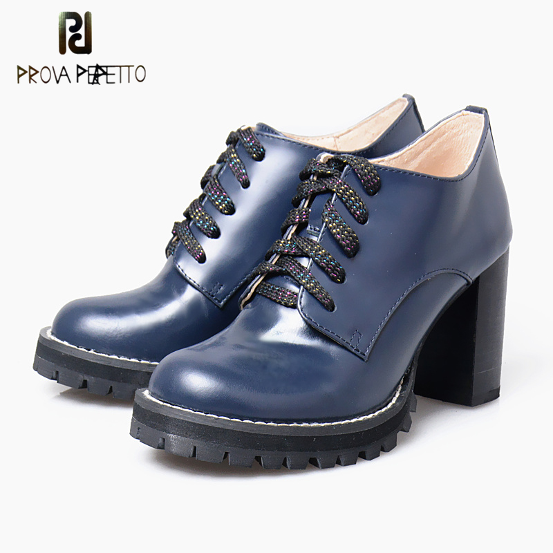 Prova Perfetto Round Toe  Square High Heel Women Pumps Lace Up Platform Real Leather Solid Color Concis Vintage Shoes Women nayiduyun women genuine leather wedge high heel pumps platform creepers round toe slip on casual shoes boots wedge sneakers