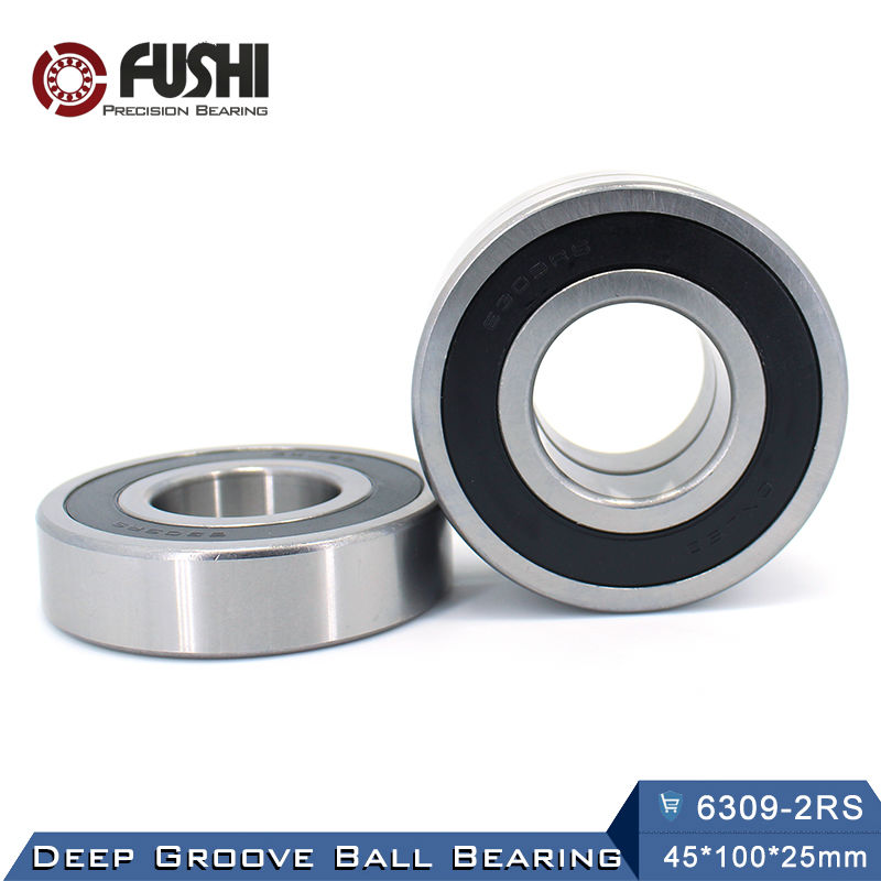 6309RS Bearing ABEC-3 (1 PCS) 45*100*25 mm Deep Groove 6309-2RS Ball Bearings 6309RZ 180309 RZ RS 6309 2RS EMQ Quality 6306rs bearing abec 3 1 pcs 30 72 19 mm deep groove 6306 2rs ball bearings 6306rz 180306 rz rs 6306 2rs emq quality