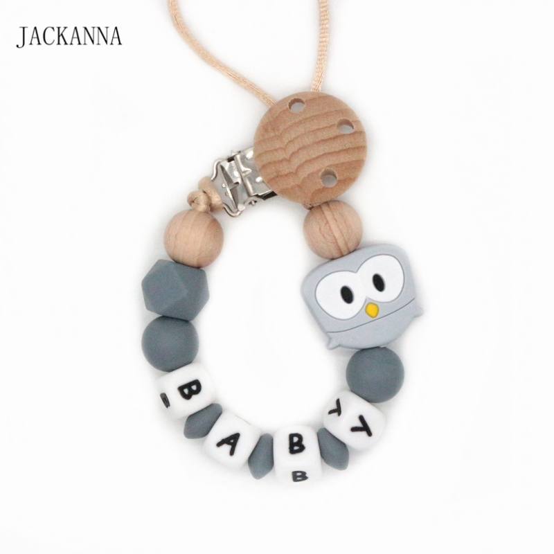 Silicone Customized Name Baby Pacifier Clips Owl Bead Dummy Clip Newborn Attache Sucette Shower Gifts Baby Pacifier Holder Chain