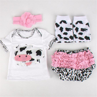 Newborn Baby Girls Ruffle Bloomers Leg Warmer Headband Set Cow Printed Summer Newborn Outfit Infant Baby