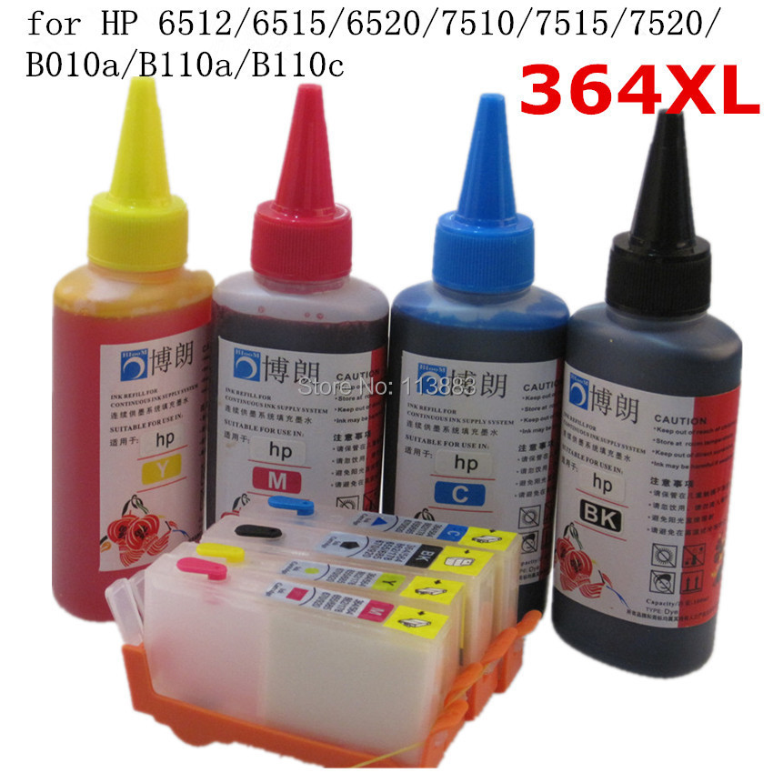 364 XL Refillable ink cartridge for HP 6512 6515 6520 7510 ...