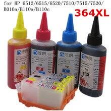 364 XL Nachfüllbare tintenpatrone für HP 6512 6515 6520 7510 7515 7520 B010a B110a B110c + für hp Dey tinte flasche Universal 400 ML