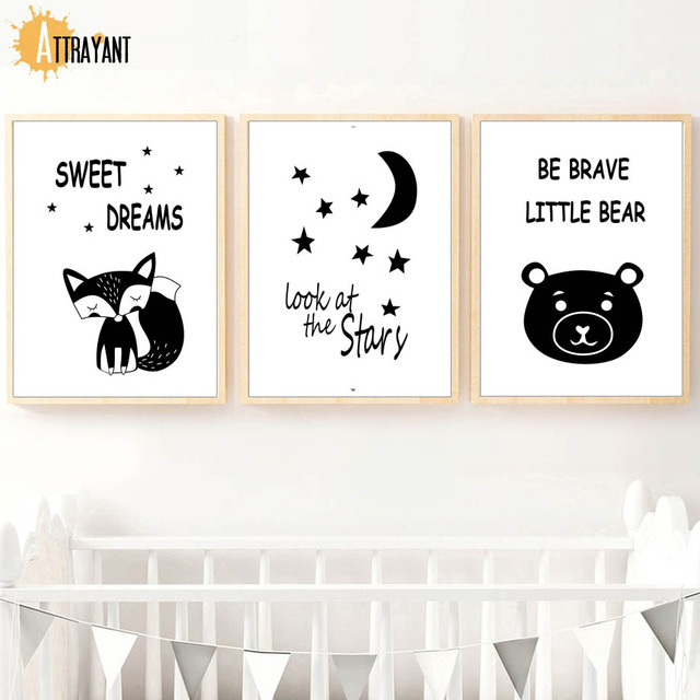 Cartoon Fox Bear Moon Star Wall Art Canvas Painting Nordic Posters And Prints Black White Wall Pictures Kids Room Nursery Decor