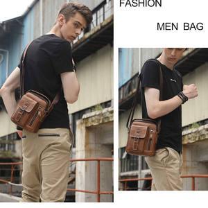 Image 2 - LAOSHIZI LUOSEN 2020 ماركة جلد طبيعي حقيبة كتف الرجال حقيبة ساع صغيرة عادية رفرف زيبر تصميم الذكور حقيبة كروسبودي