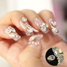 10pcs/lot Hot Sale pointed back White AB color Multicolor glass Nail Art Decoration Glitter Rhinestones