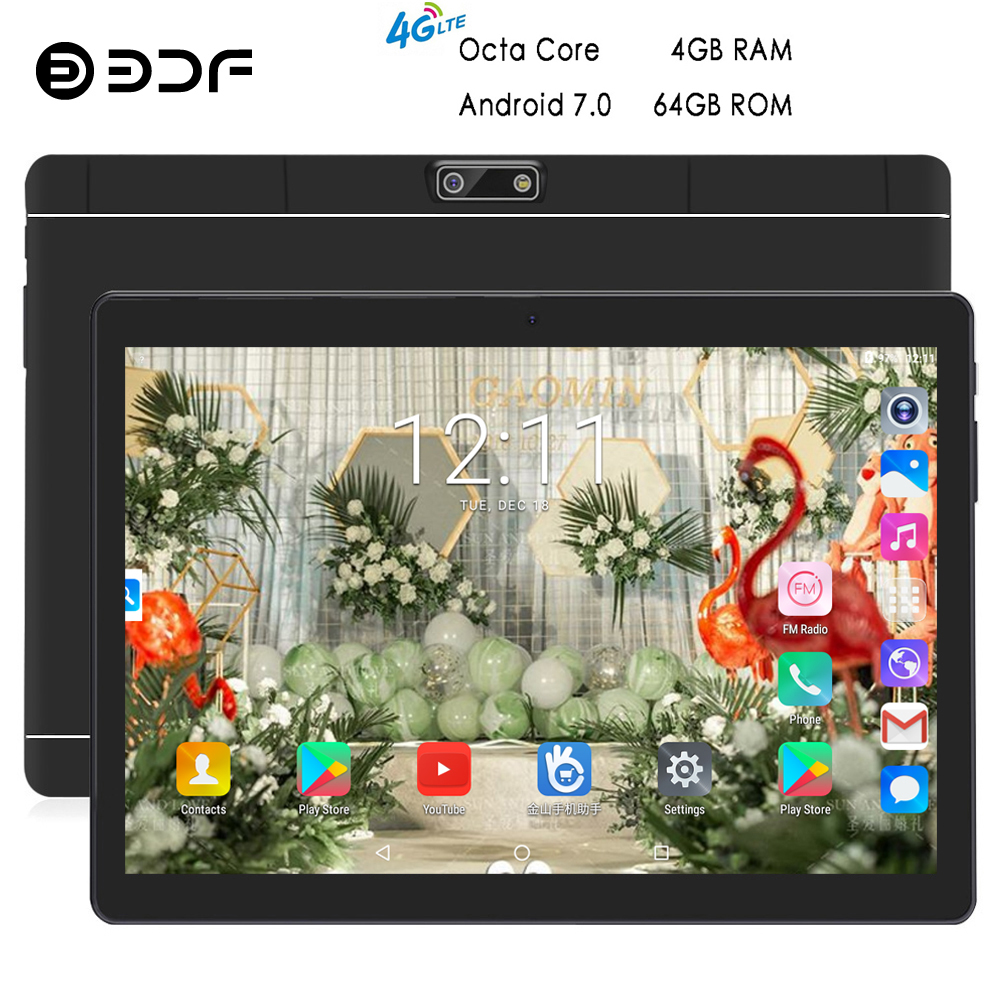 BDF Tablet 10 Inch Tablet 4GB/64GB Android 7.0 Octa Core 4G Phone Tablets Pc 1280*800 IPS Tab Bluetooth WiFi Android Tablet 10.1