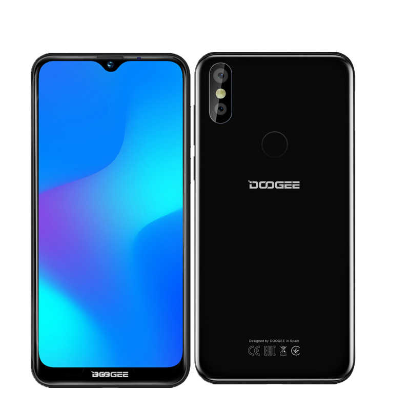 Oryginalny DOOGEE Y8 Android 9.0 telefon komórkowy 6.1 cal ekran 19:9 MTK6739 Quad Core 3GB 16GB 8MP 3400mAh odcisk palca 4G smartphone