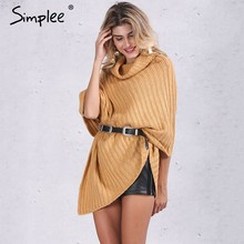 Simplee Autumn knitted turtleneck pullovers poncho sweater women Vintage khaki sweater manta Winter gary thick sweater jumper(China)