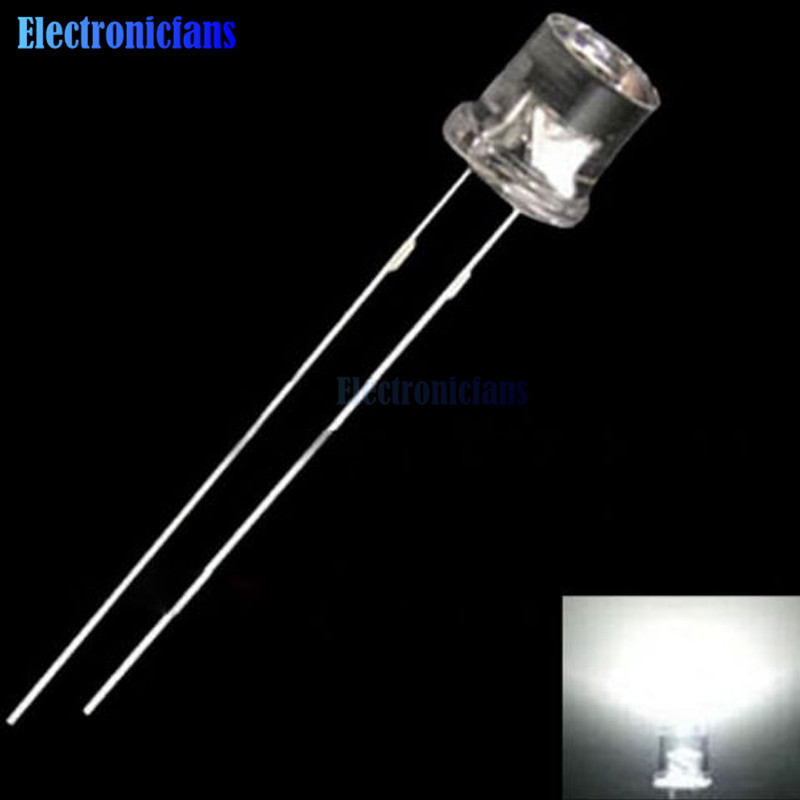 100Pcs 2mm Flat Top Warm-White LED Light Emitting Diode Wide Angle Clear Lights