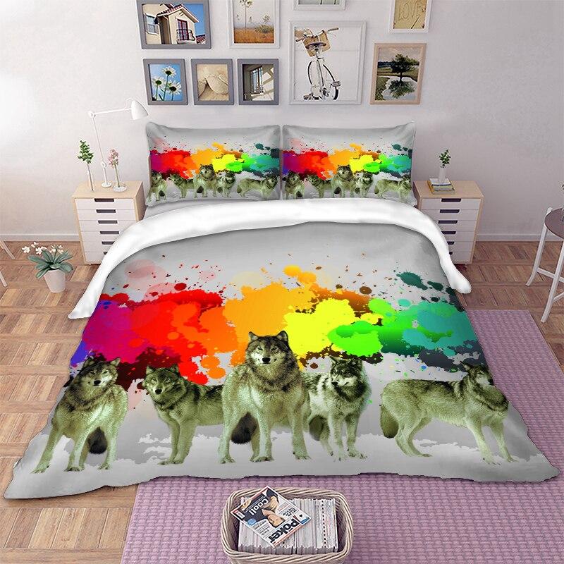 3D Fronhas Capa de Edredão Conjunto De Cama Lobo Arte Estilo roupa de Cama para crianças Gêmeo Rainha Cheia King Size Único roupas de cama