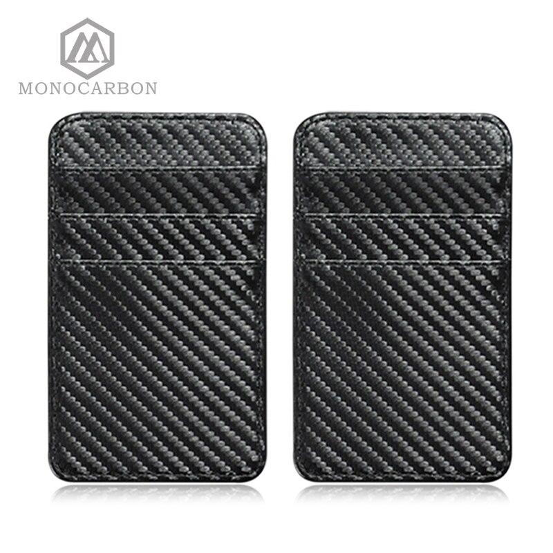 купить MONOCARBON Multifunction PU Carbon Fiber Pattern Men ID Credit Card Holders PU Leather Name Card Wallet по цене 557.58 рублей