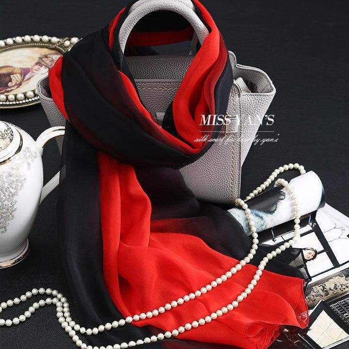 Genuine Silk Women Scarf Fashion Classic Black Red Gradient Scarves 2017 Summer Autumn Winter Good Quality Necklace Shawl