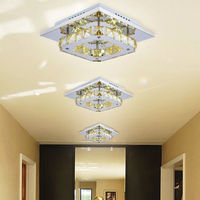 Fashion Celling Lamp For Bedroom 12w LED Crystal Flush Mount Light Modern Amber Electroplating Stainless Steel