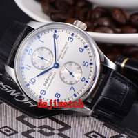 43mm Parnis Power Reserve Blue Marks mechanical Automatic Mens Watch Seagull movement ST2542 PN 048