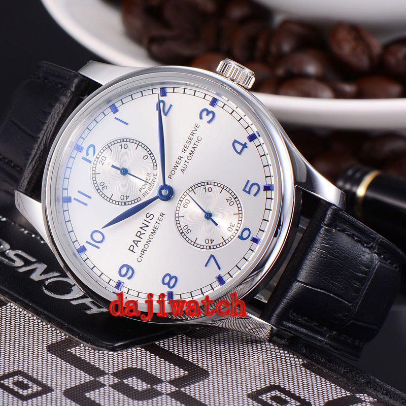 43mm Parnis Power Reserve Blue Marks mechanical Automatic Mens Watch Seagull movement ST2542 PN-048 цена и фото