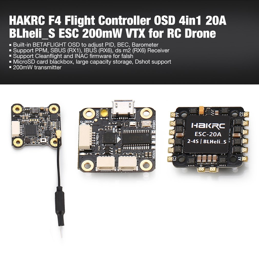 HAKRC F4 contrôleur de vol Tour avec Betaflight OSD BEC 4in1 20A BLheli_S ESC 200 mW VTX pour RC quadrirotor de course Drone