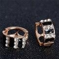 Earings del aro joyería de moda Shimmer Chic vintage negro Cristal Blanco Oro Plateó el Pendiente de Las Mujeres pendientes brincos orecchini
