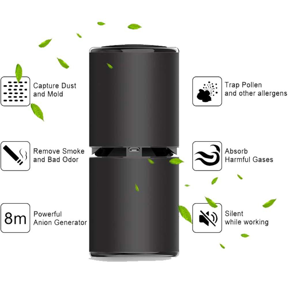 Car Air Purifier Ionizer Freshener Mini Portable USB HEPA Fresh Air Negative Ion Cleaner PM2.5 Smoke Odors for Car Home Desktop