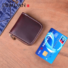 EUMOAN Original Handmade Cow Leather Men Small Condom Bag Holder Women Mini Coins Money Wallet Male Coin Purse